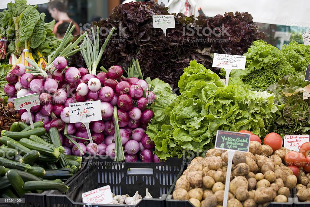 Organic produce at a farmers street market stock photo