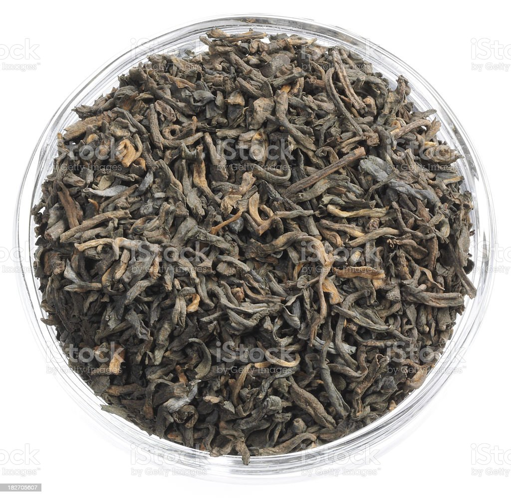 organic puer tea leaves royalty-free stock photo