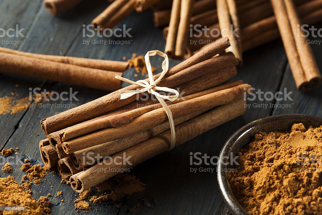 Organic Raw Brown Cinnamon stock photo