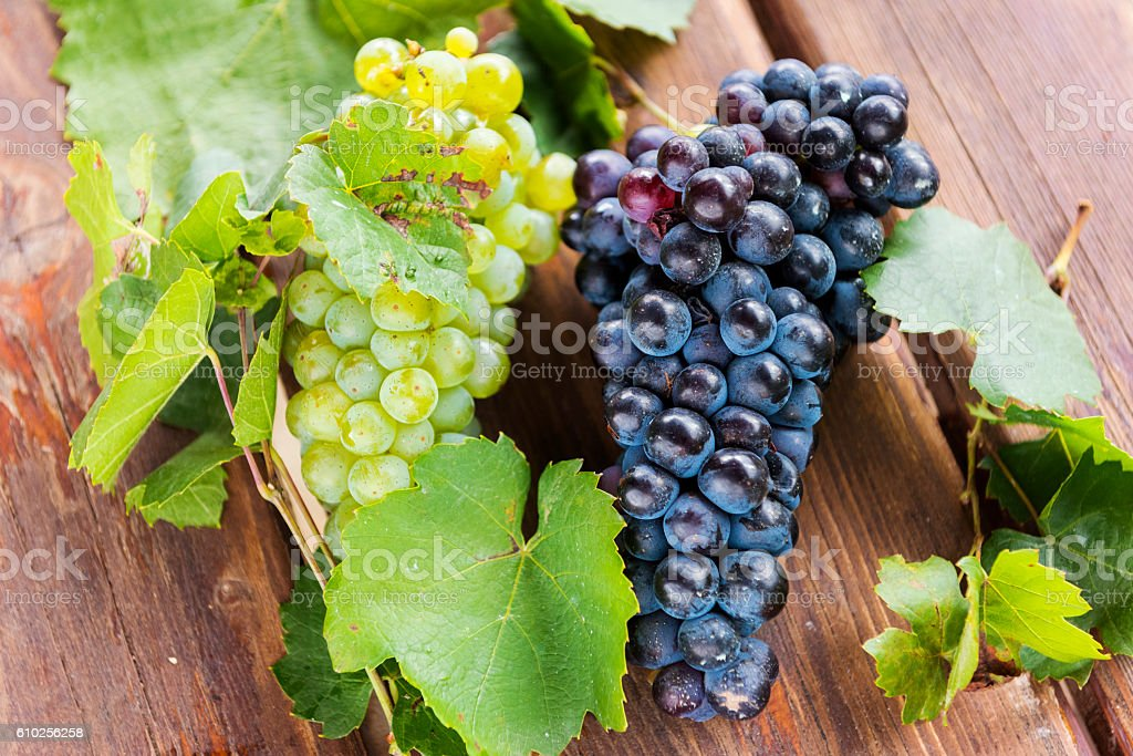Organic Red and White Grapes on a Rustic Table stock photo