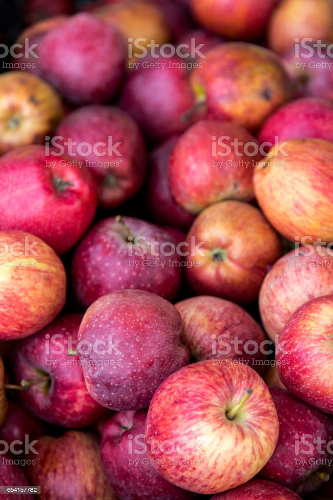 Organic red apples gor sale on local market stock photo