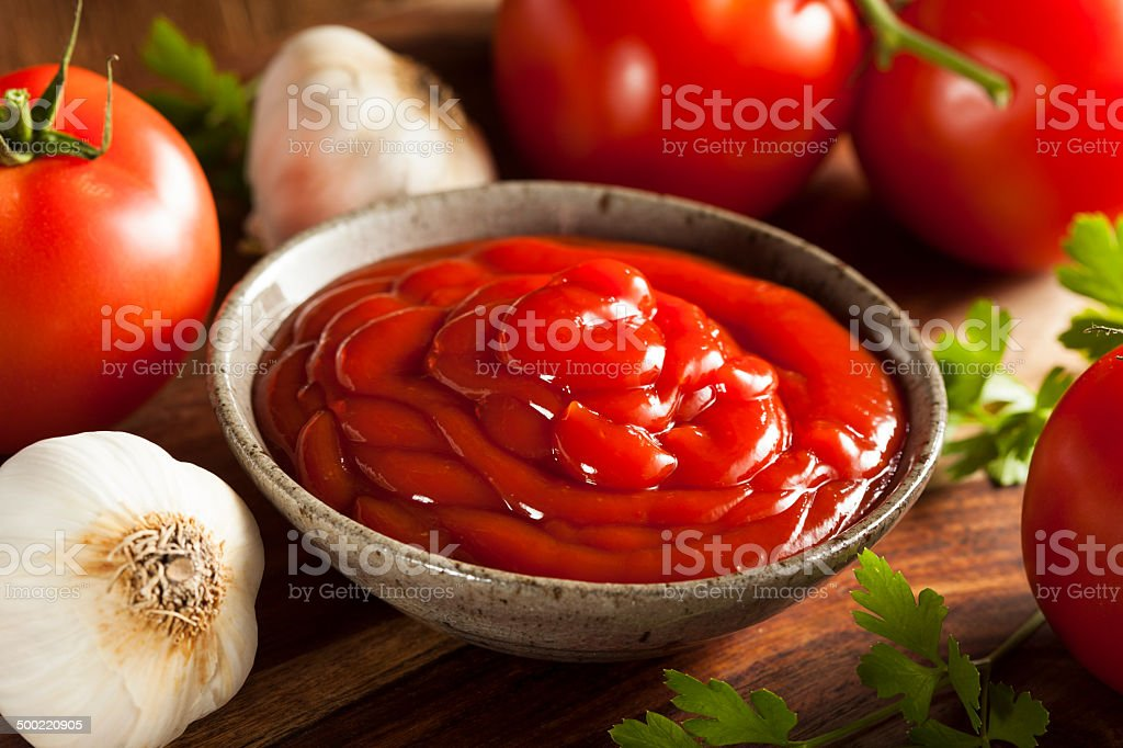 Organic Red Tomato Ketchup stock photo