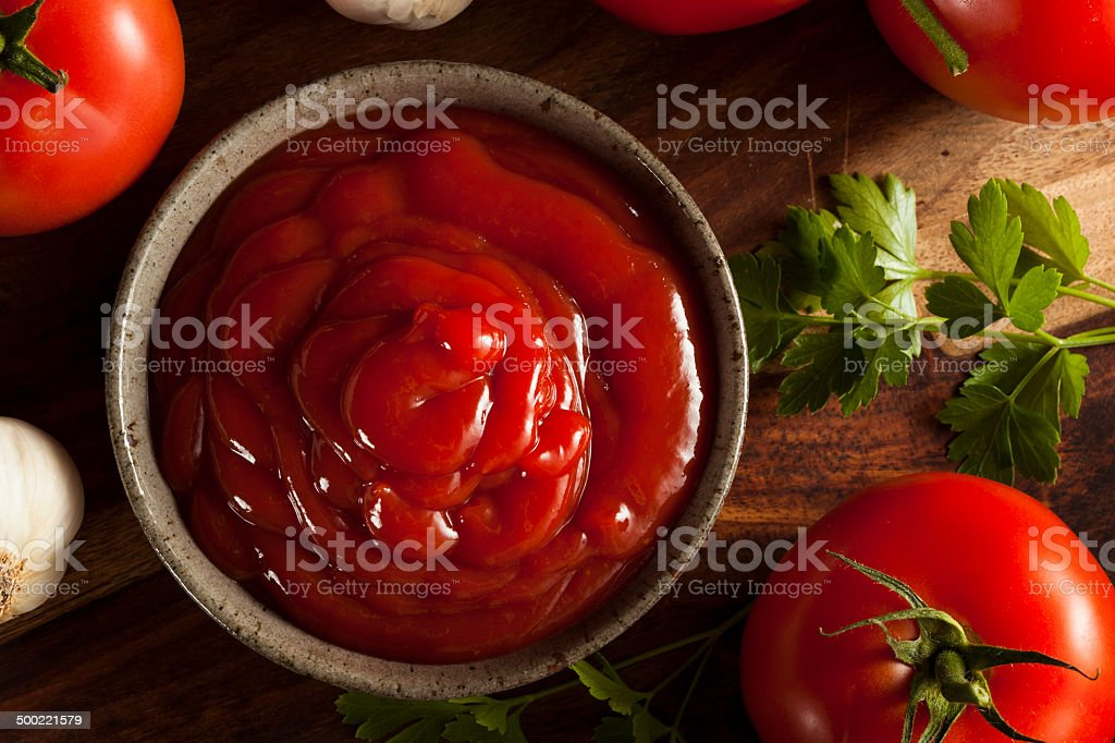 Organic Red Tomato Ketchup stock photo