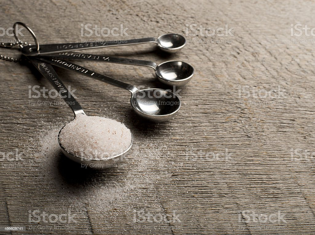 Organic Sea Salt on wood table stock photo