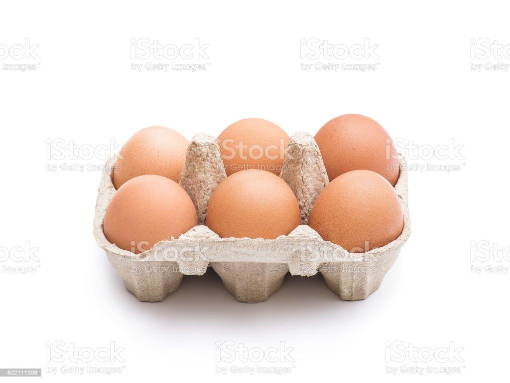 Organic Six Egg Pack Isolated on White stock photo