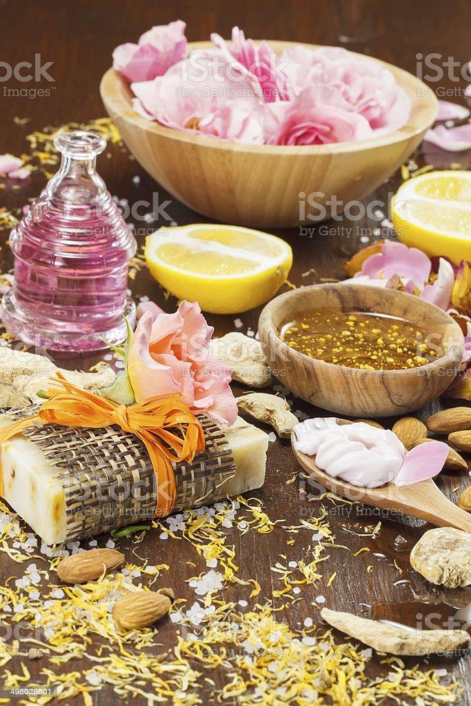 Organic skincare ingredients stock photo