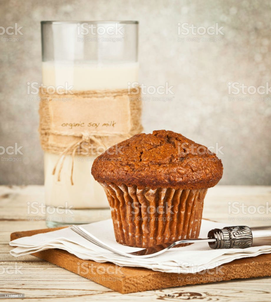 Organic Soy Milk with Bran Breakfast Muffin stock photo