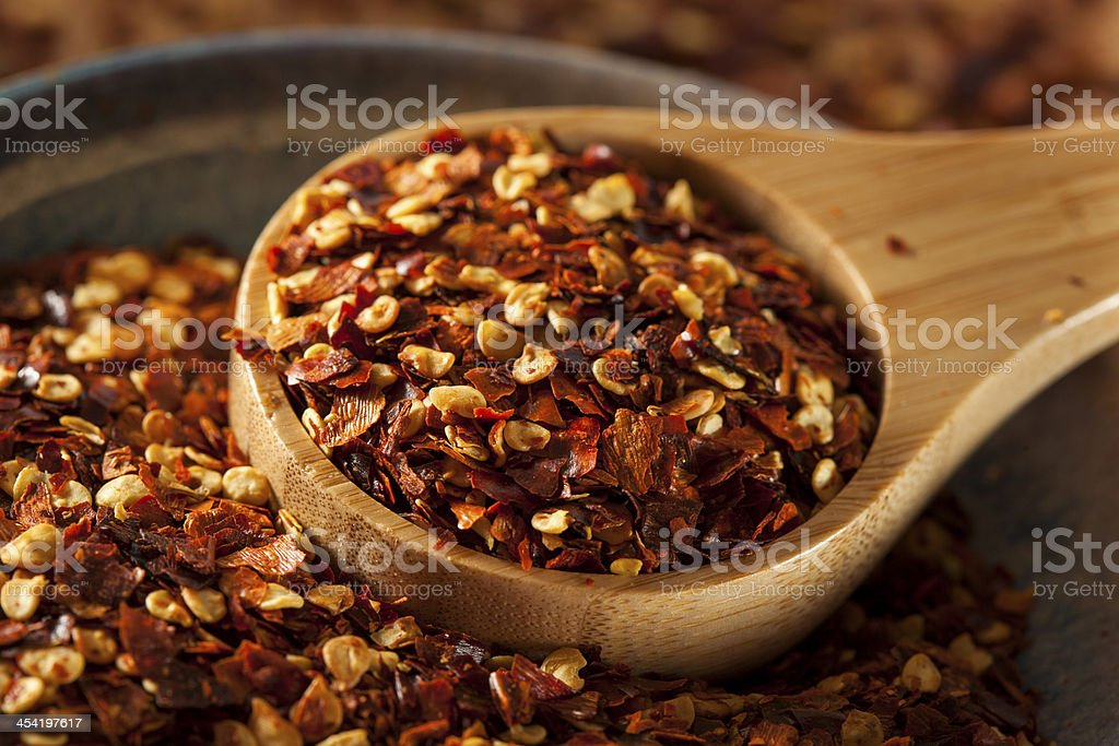 Organic Spicy Red Pepper Flakes stock photo