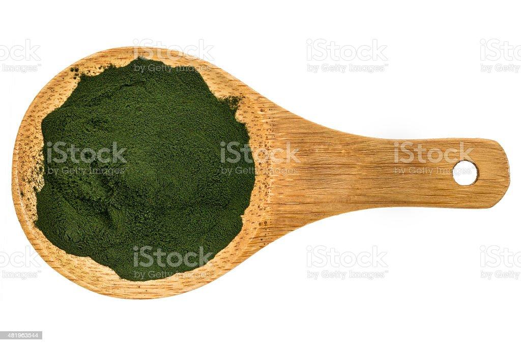 Organic spirulina powder stock photo