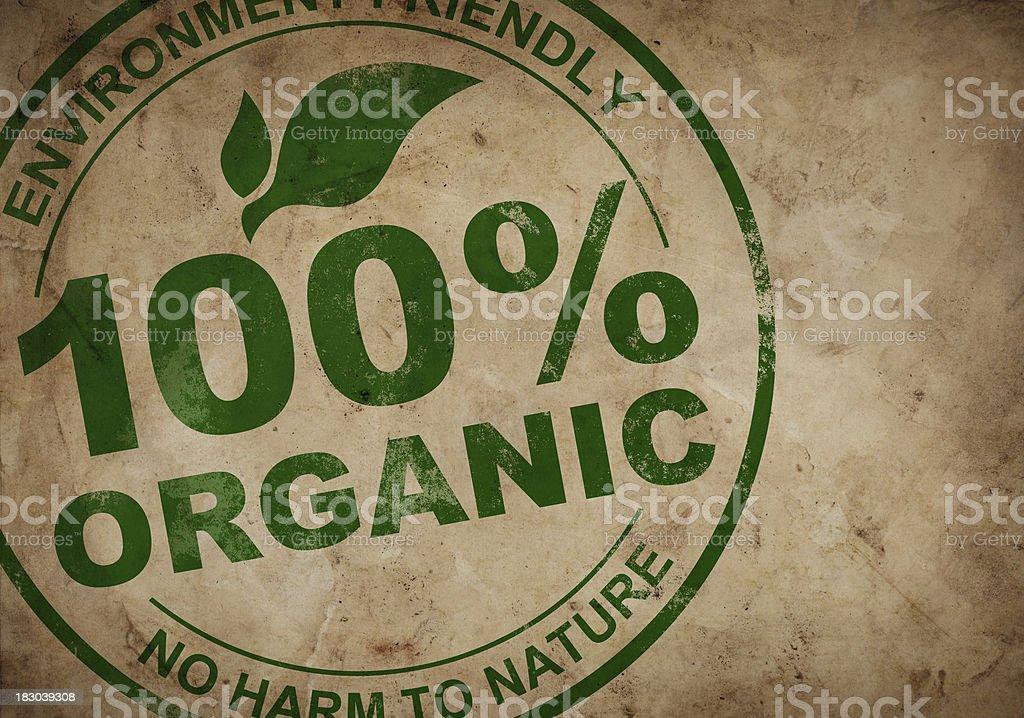 100% Organic Stamp stock photo