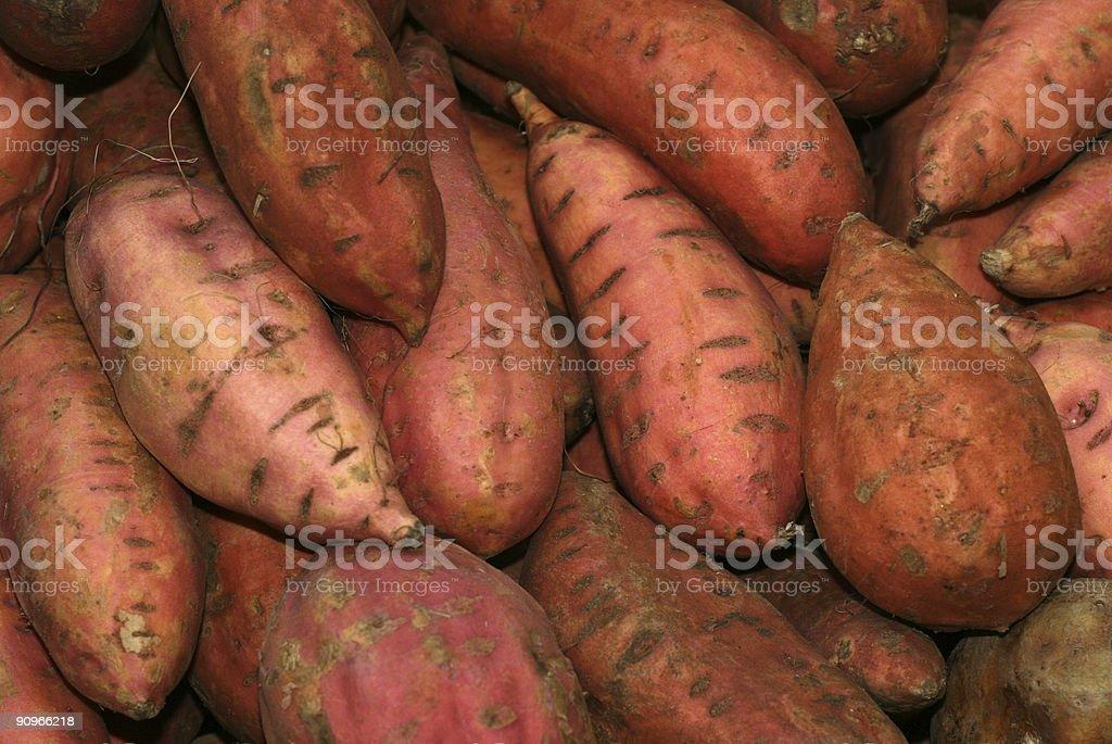 Organic sweet potatoes close up royalty-free stock photo