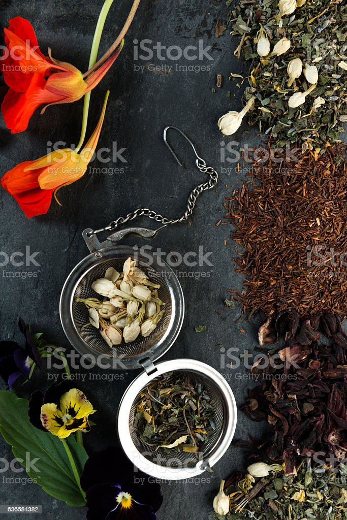 organic tea composition stock photo