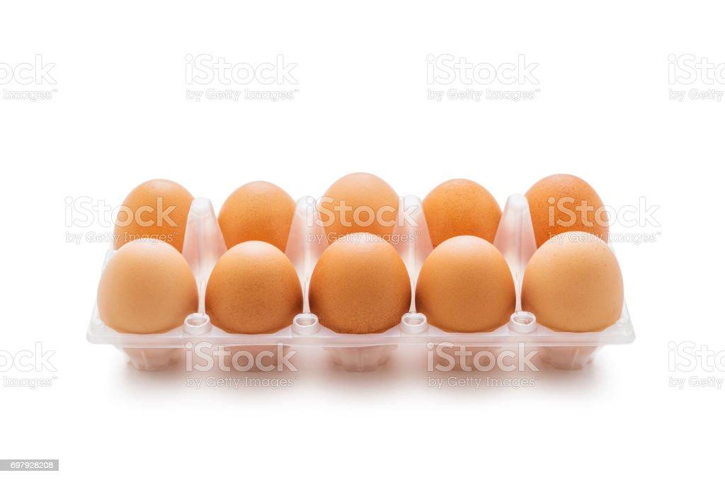 Organic Ten Egg Pack Isolated on White stock photo