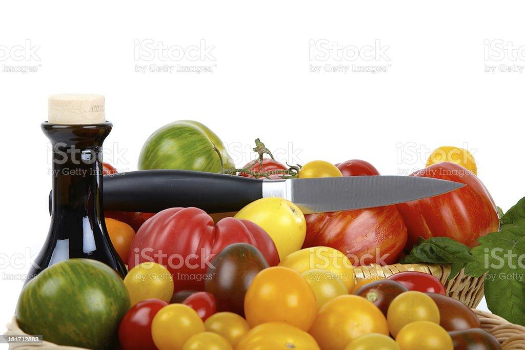 Organic Tomatoes and Balsamic Vinegar royalty-free stock photo
