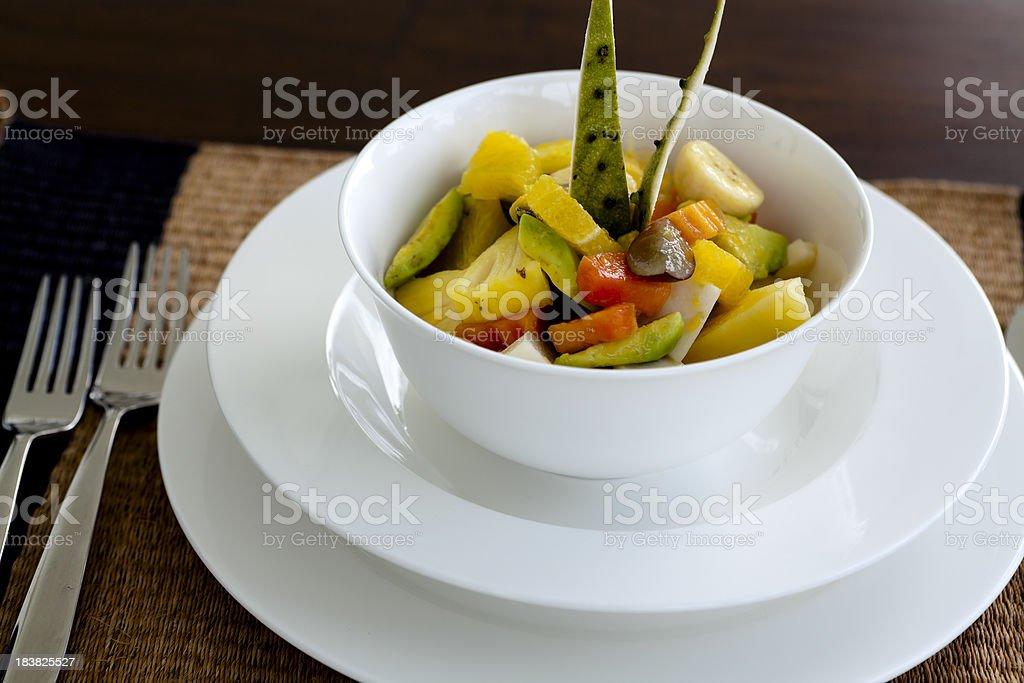 organic tropical fruit salad stock photo