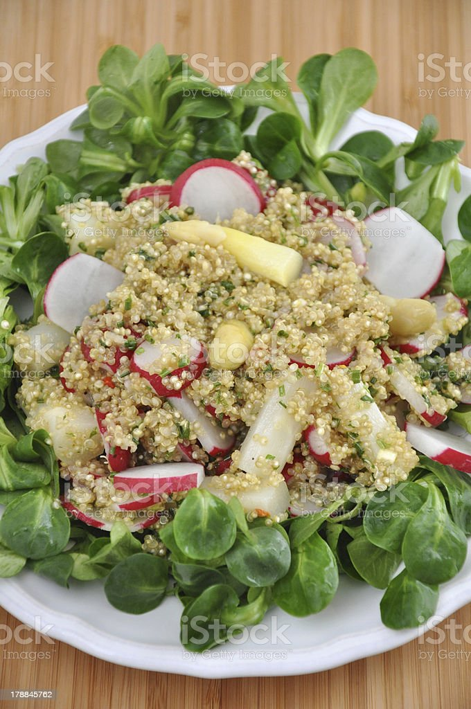 Organic Vegan Quinoa Salad with red radish and asparagus royalty-free stock photo