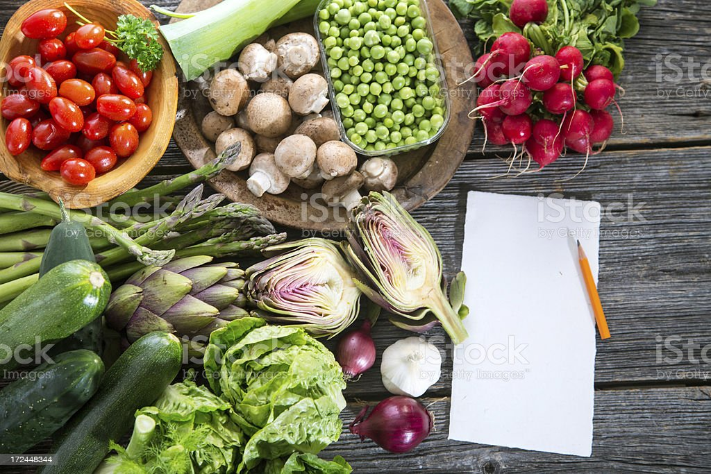 Organic Vegetable with blank note royalty-free stock photo