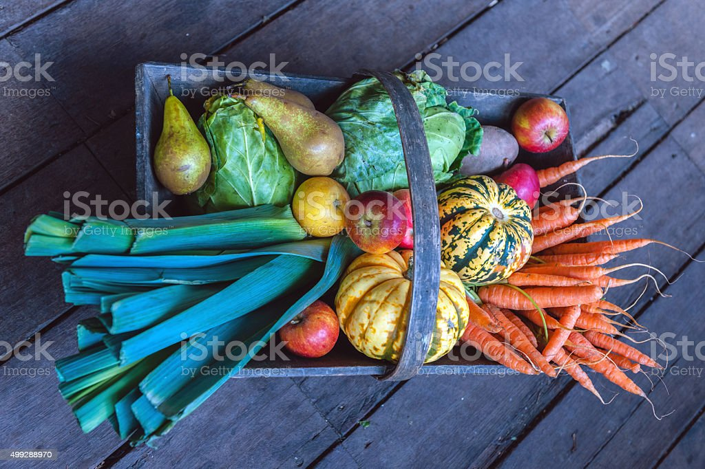 Organic Vegetables and Fruit in Wooden Basket, Urban Garden, London stock photo