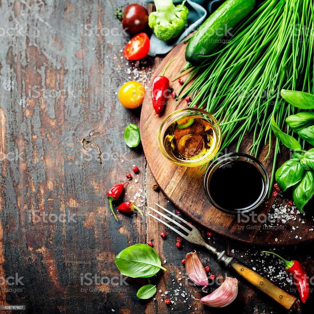 Organic Vegetables and spices stock photo