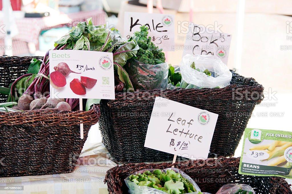 Organic vegetables at a Ontario, Canada, farmers market. stock photo