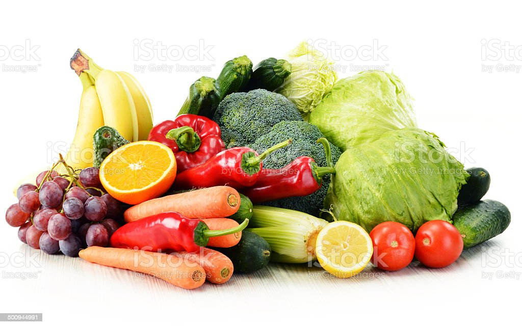 Organic vegetables isolated on white stock photo