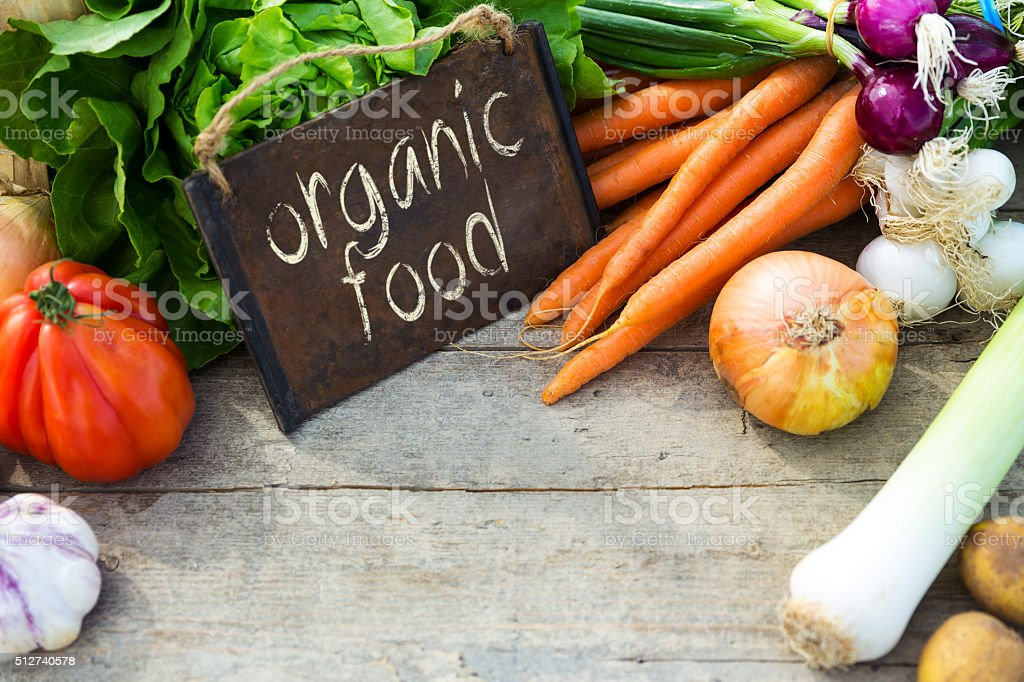 organic vegetables on a table stock photo