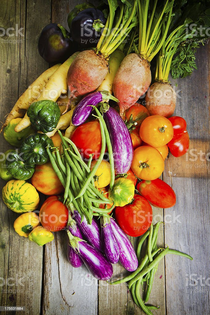 Organic Vegetables On Old Wood stock photo
