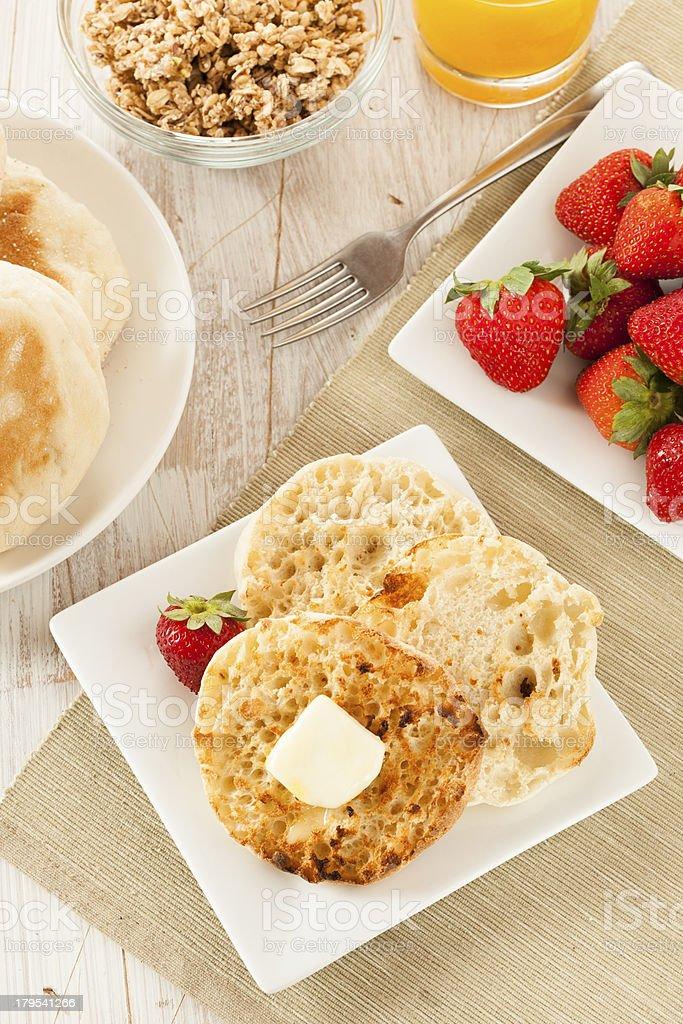Organic Whole Wheat English Muffins royalty-free stock photo