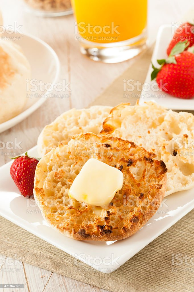 Organic Whole Wheat English Muffins royalty-free stock photo