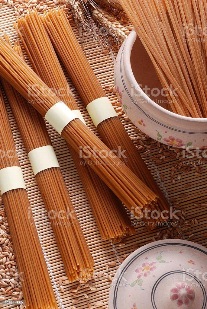 Organic wholemeal spaghetti stock photo