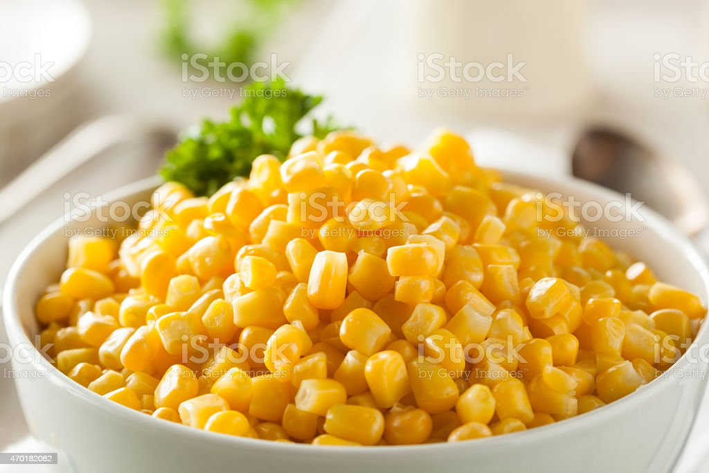 Organic Yellow Steamed Corn stock photo