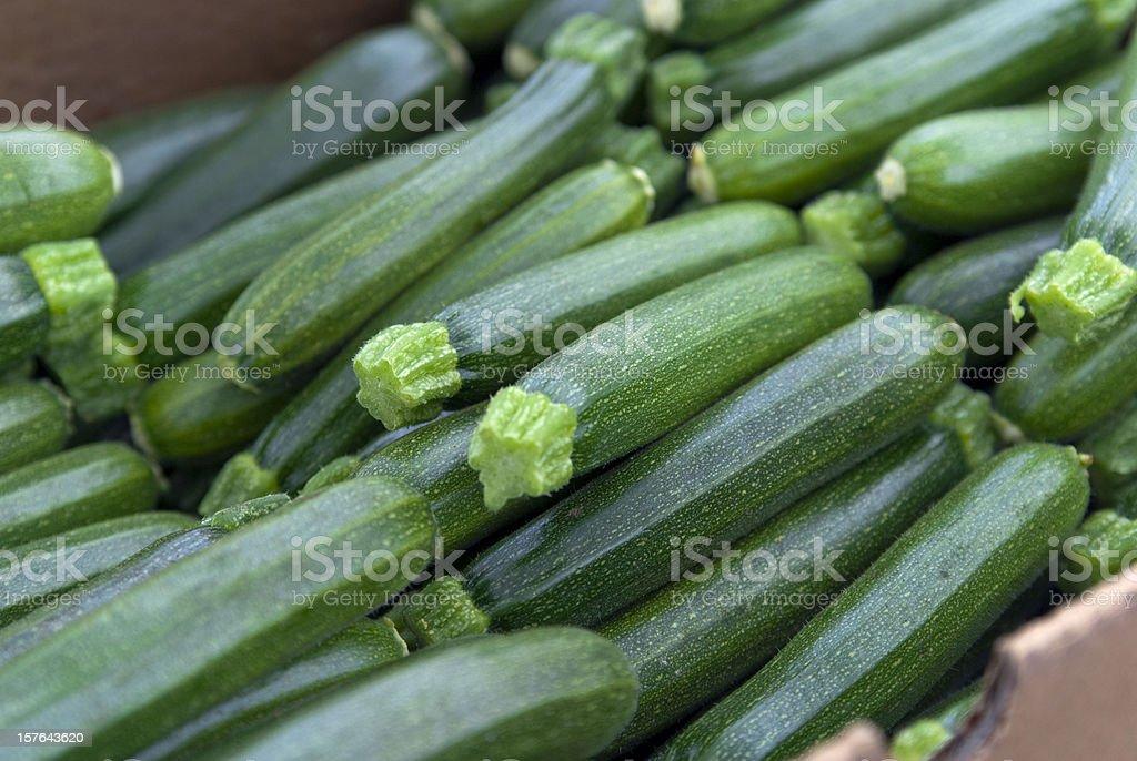 Organic Zucchini, Vegetables at Farmer's Market: Healthy Eating Food Background stock photo