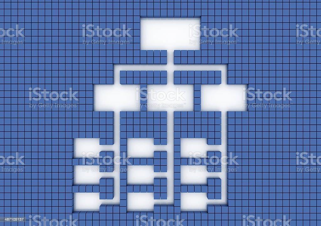 Organization chart (empty, blue background) stock photo