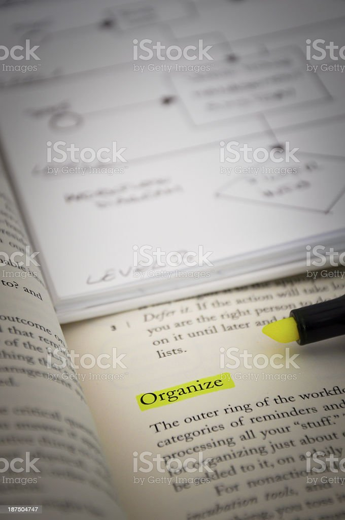 Organize word highlighted stock photo