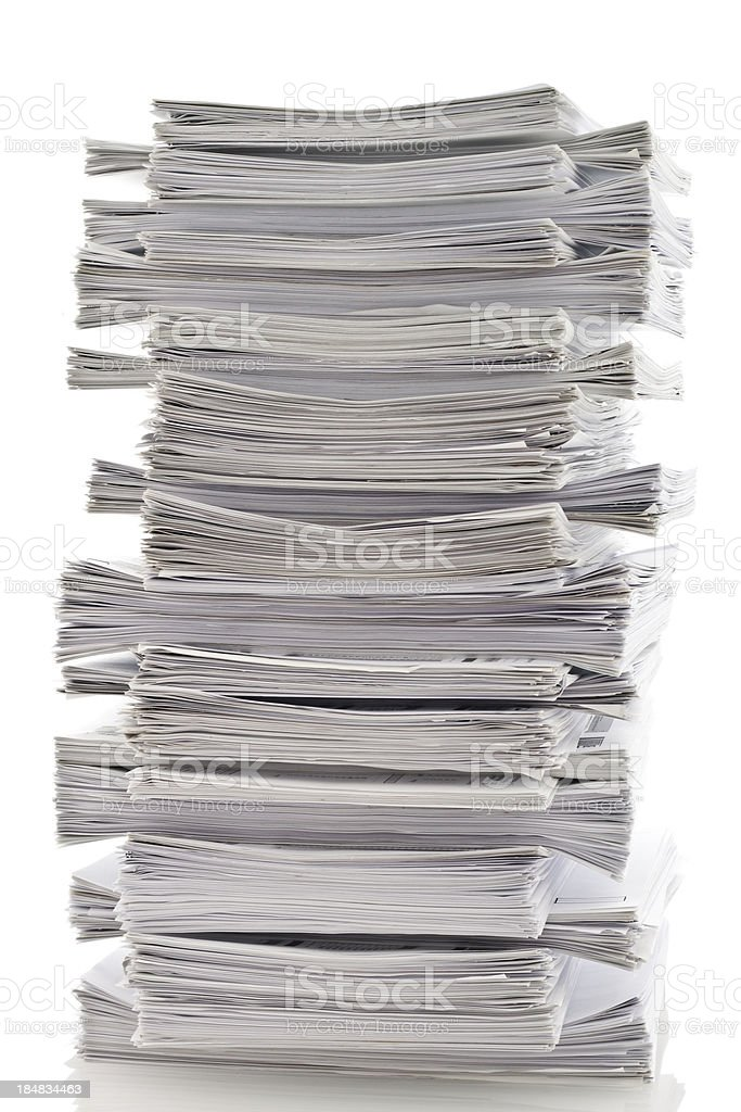 Organized pile of papers stock photo