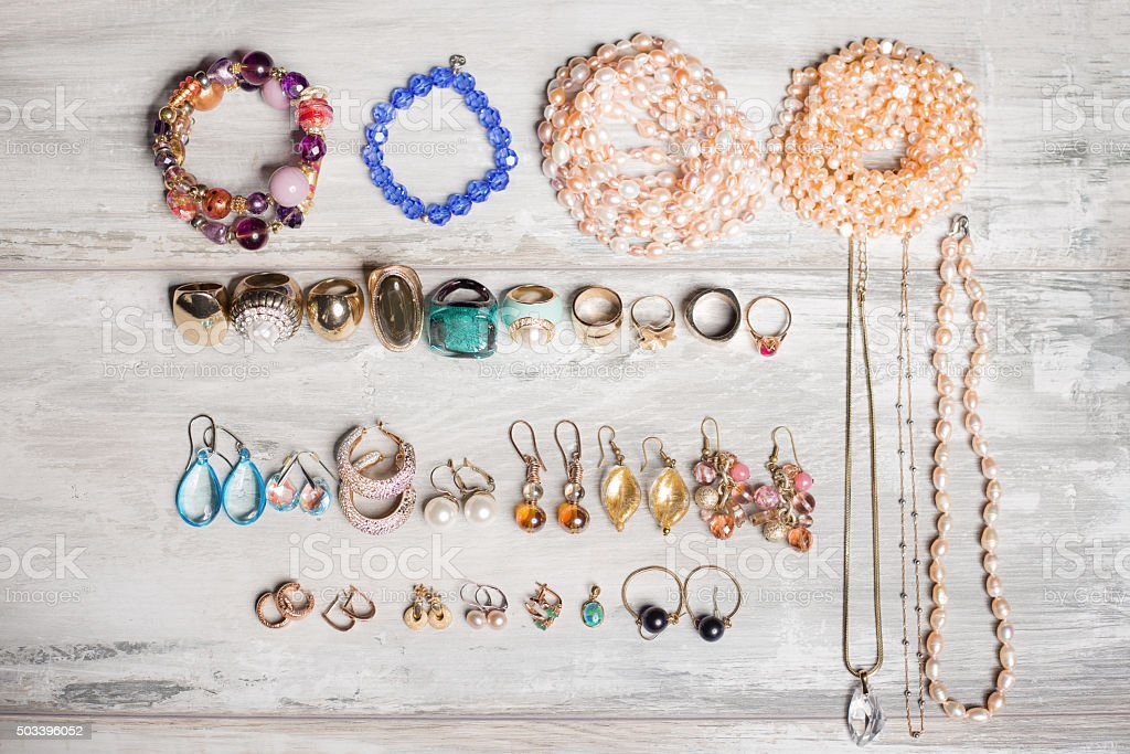 Organized set  of jewelry stock photo