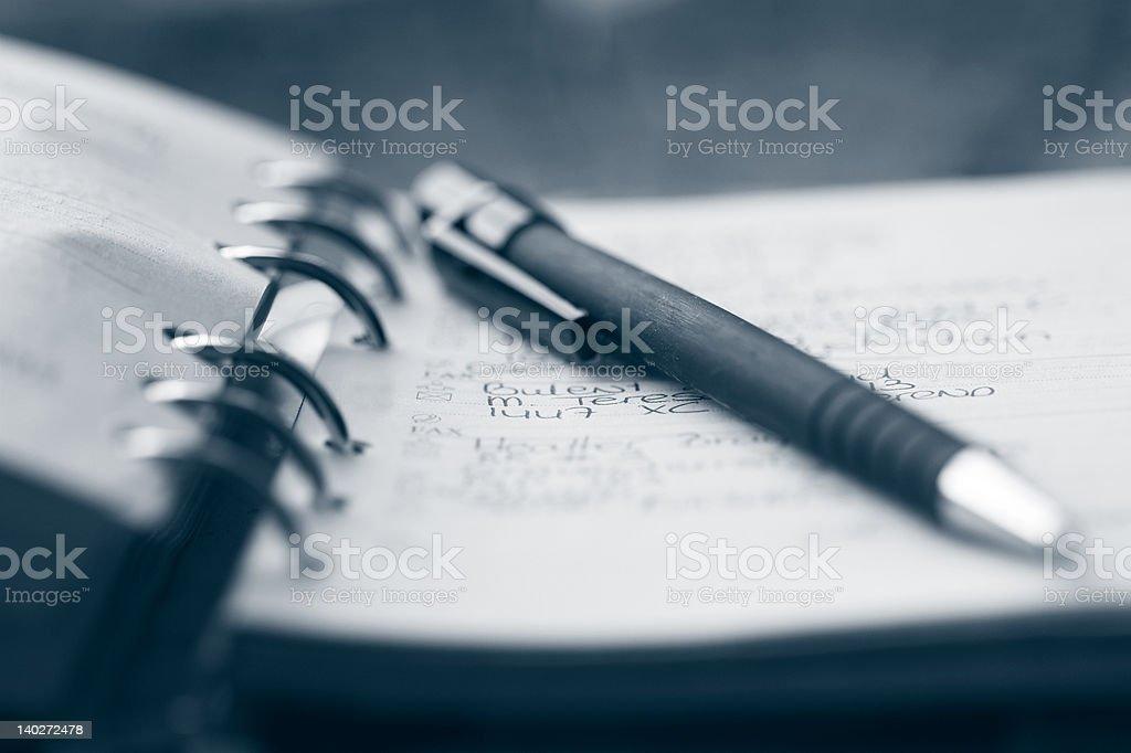 Organizer and pen stock photo