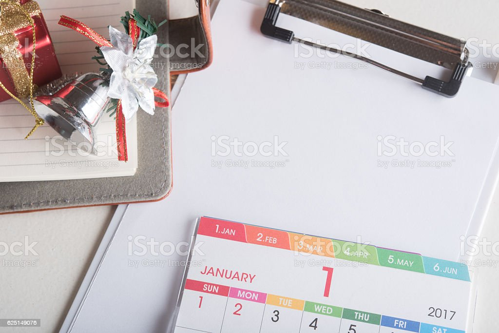 organizer book with blank page wit calendar and holiday decorati stock photo