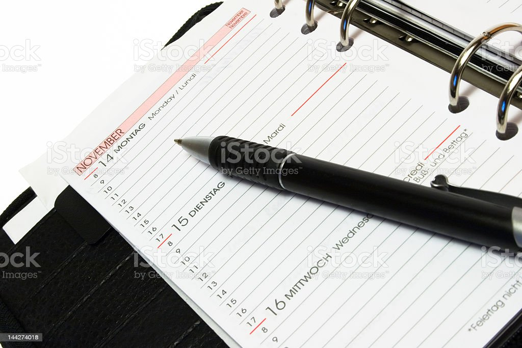 Organizer page with pen royalty-free stock photo