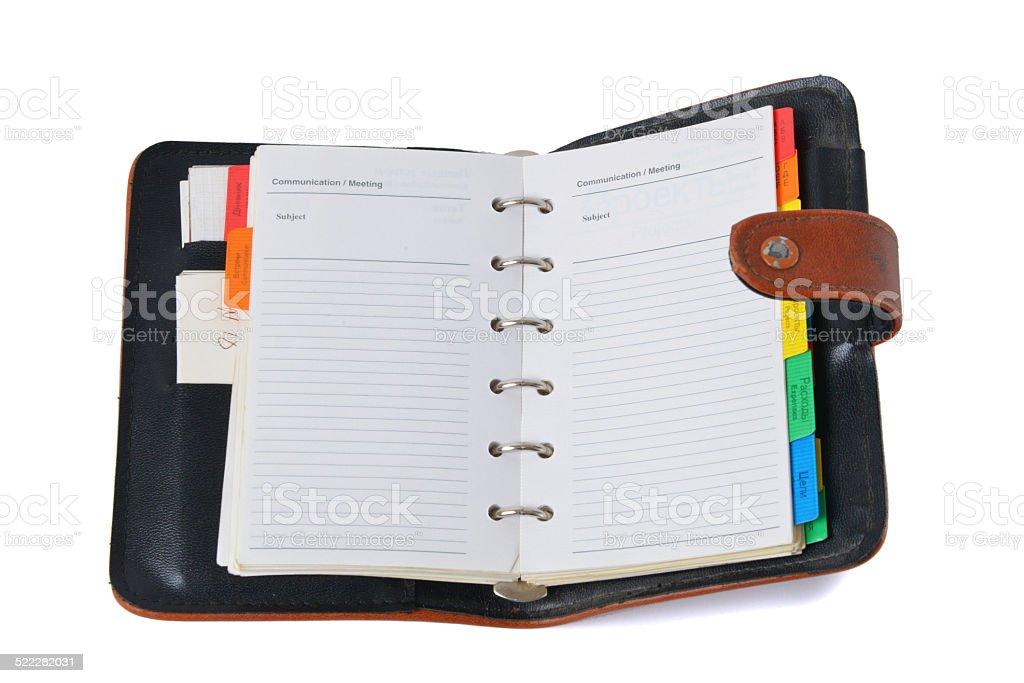 Organizer - weekly planner stock photo