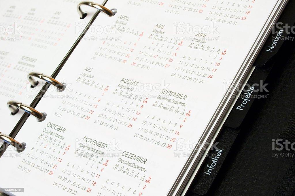 Organizer with calendar royalty-free stock photo