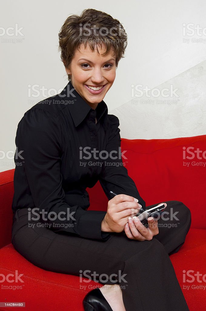 Organizing her day stock photo