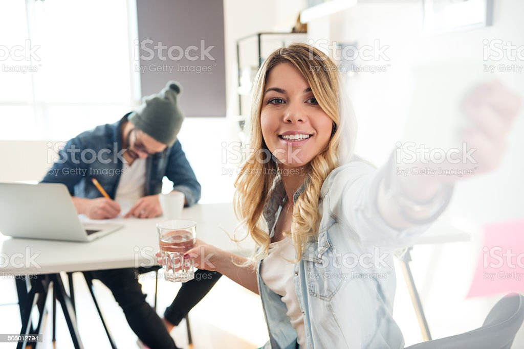 Organizing her priorities stock photo