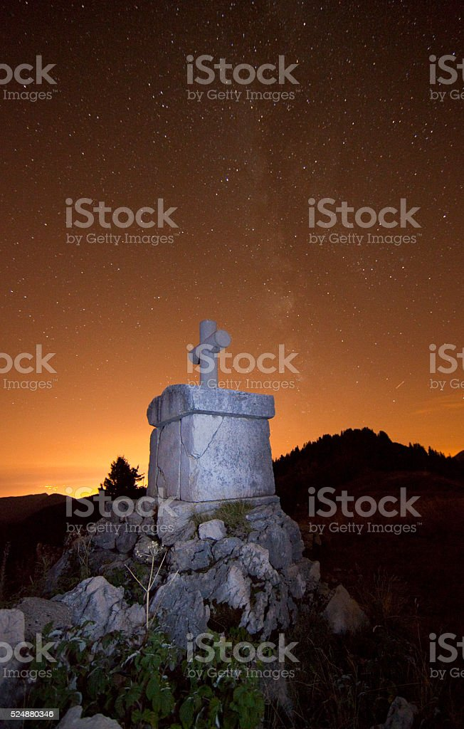 Oratoire d'Orgeval at night stock photo