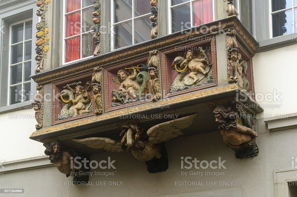 Oriel windows in St. Gallen stock photo