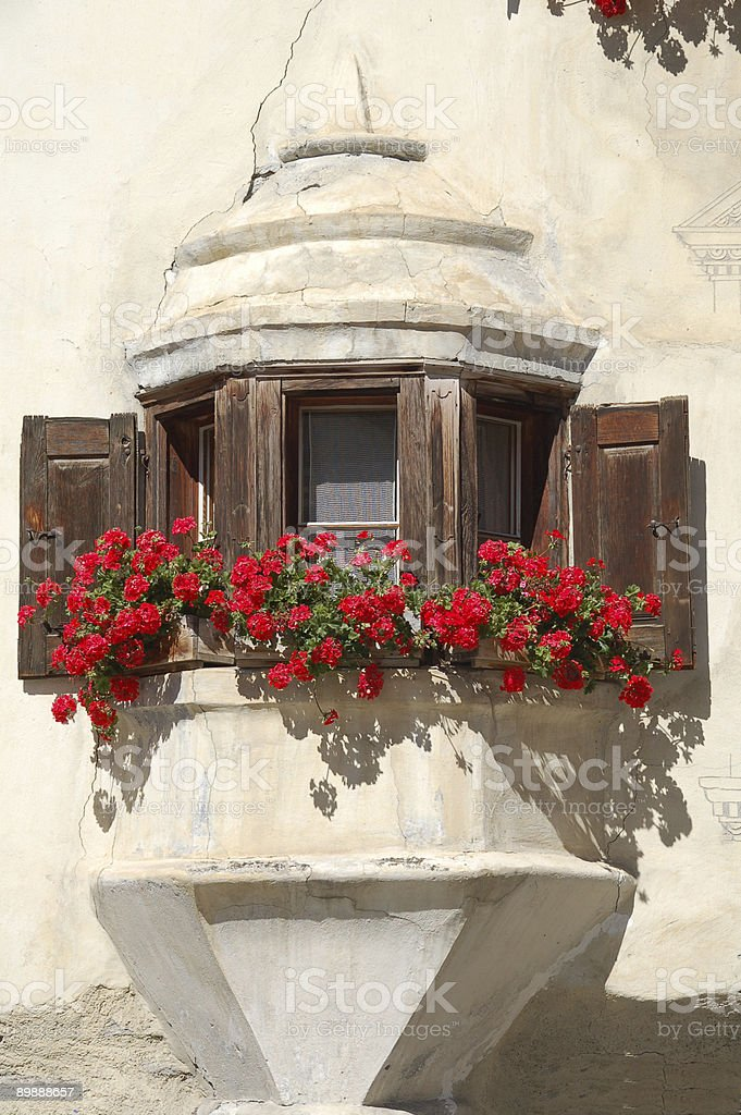 Oriel with Flowers stock photo