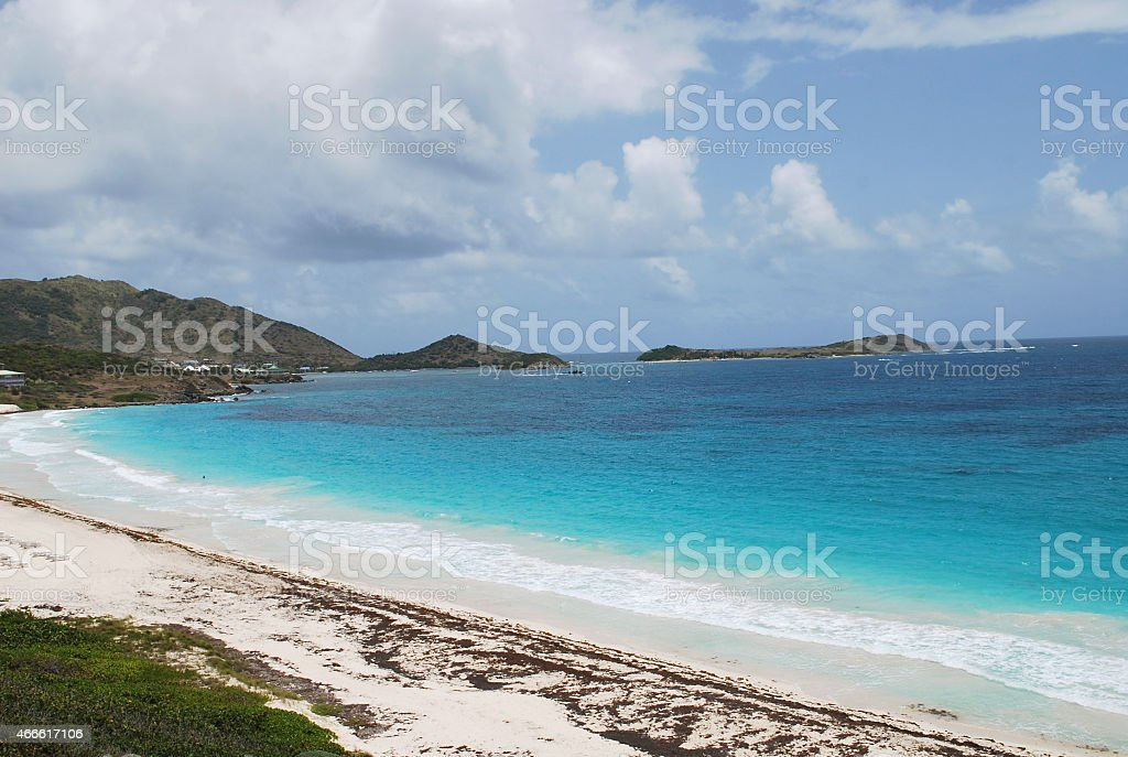Orient Bay Beach in St Martin Island. stock photo