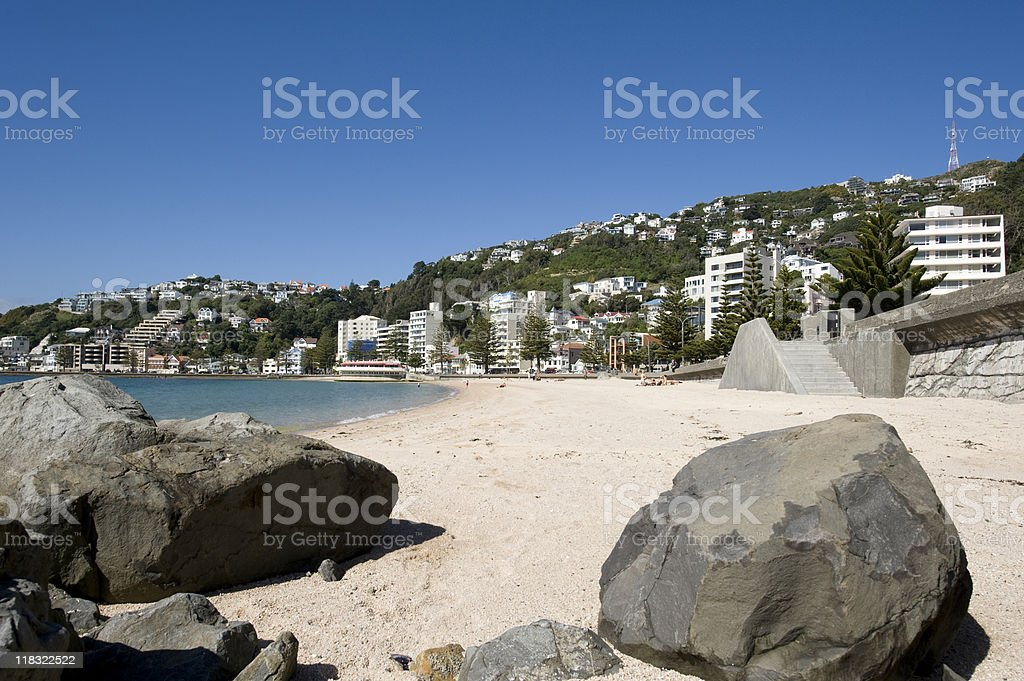 Oriental Bay, Wellington, New Zealand stock photo
