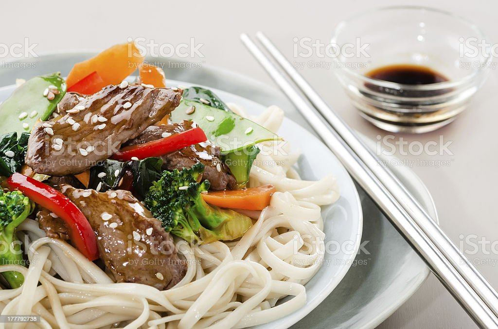 Oriental beef stir fry stock photo