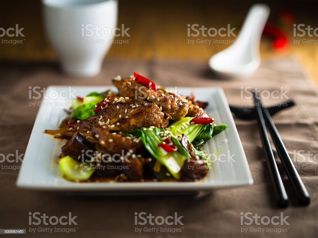 Oriental Beef stir-fired stock photo